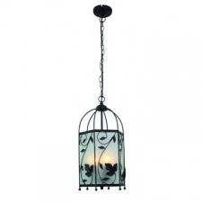 Eurolux - Lantern Pendant light with leaf design Blk/Silv